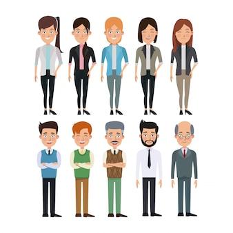 Witte achtergrond volledige collectie vrouwen en mannen personages voor het bedrijfsleven