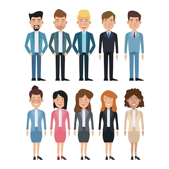 Witte achtergrond volledige lichaamsreeks veelvoudige vrouwen en mannen karakters voor zaken