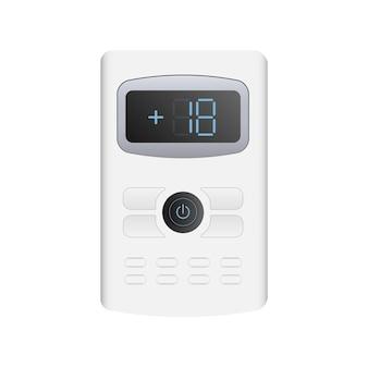 Witte afstandsbediening van de airconditioner 3d. realistische afstandsbediening. geïsoleerd op witte achtergrond.
