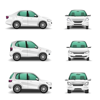 Witte auto's voor amd zijaanzicht