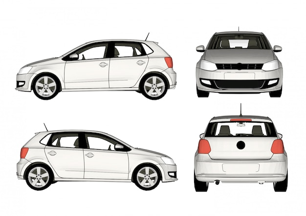 Witte auto vector, alle weergaven