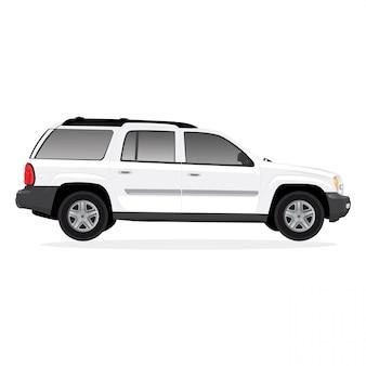 Witte auto vectorillustratie geïsoleerd op witte achtergrond bewerkbare indeling