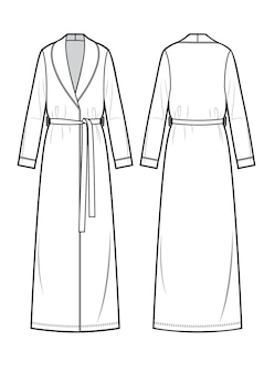 Witte badjas voor dames vector voor- en achterkant