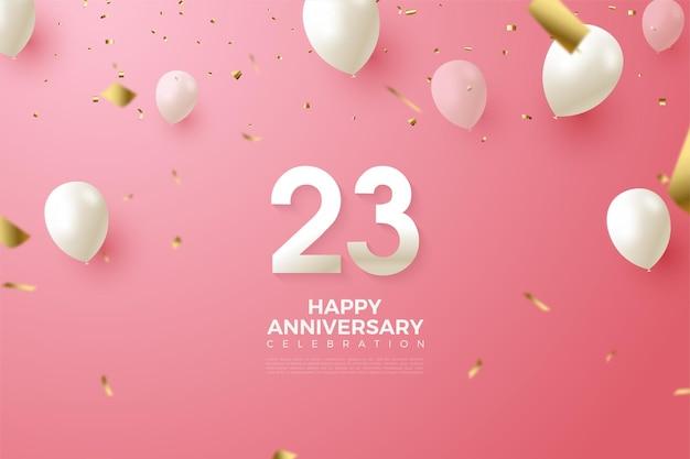 Witte ballonnen vliegen voor de achtergrond van de 23e verjaardag