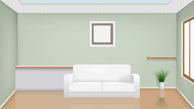 Witte bank in de woonkamer