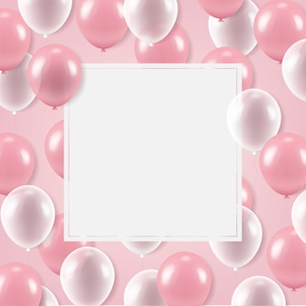 Witte banner met ballonnen