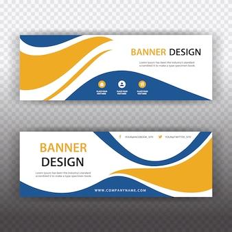 Witte banner met blauwe en oranje details