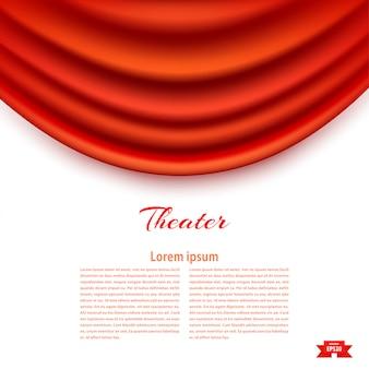 Witte banner met theatraal padhuga red theatergordijn.