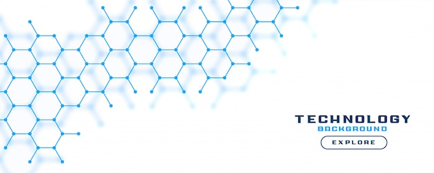 Witte bannerachtergrond met blauwe zeshoeklijnen