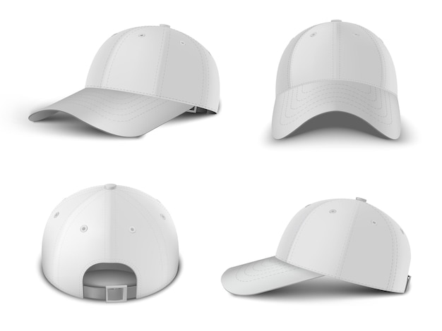 Witte baseballcap kant 3/4 perspectief, voorkant, achterkant weergave realistische vector sjabloon set. bespotten voor branding en reclame geïsoleerd op transparante achtergrond.
