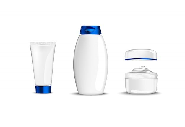 Witte beauty cosmetische containers met blauwe cup voor creme shampoo gel