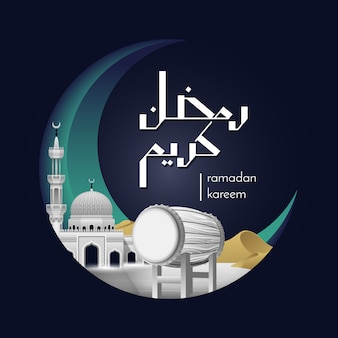 Witte bedug en moskee ramadan kareem concept