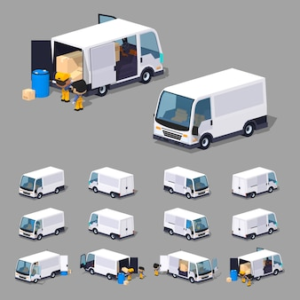 Witte bestelwagen. 3d lowpoly isometrische vectorillustratie.