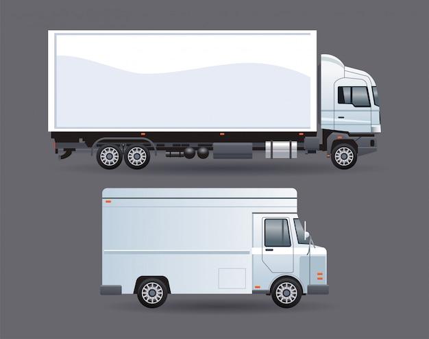Witte bestelwagen en vrachtwagen