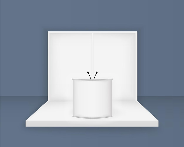 Witte beursstand, 3d-lege stand sjabloon met verlichting