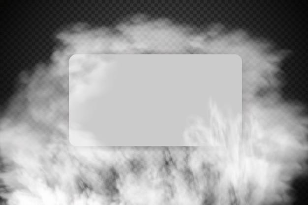 Witte bewolking, mist of rook op donkere geruite achtergrond