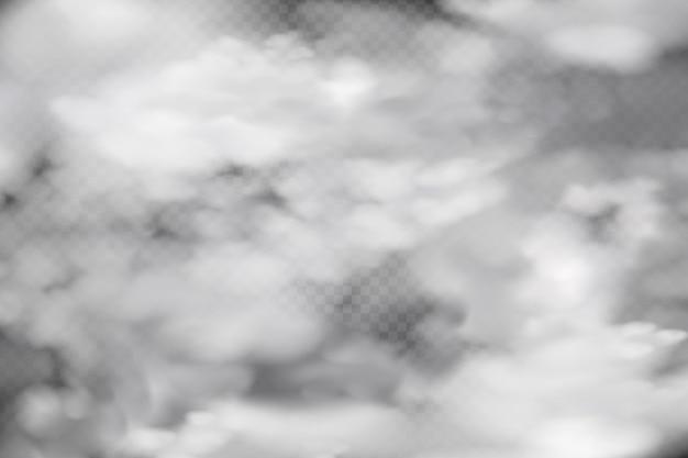 Witte bewolking, mist of rook op een donkere geruite achtergrond.