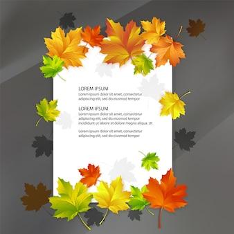 Witte blanco versierd met kleurrijke herfst esdoorn bladeren.