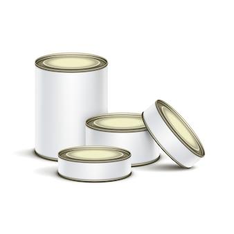 Witte blikken doos verpakking container set voor thee, koffie of ingeblikte conservenconserven geïsoleerd voedsel