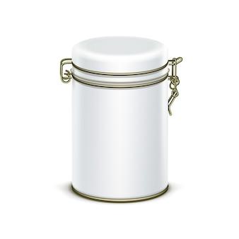 Witte blikken doos verpakking container voor thee of koffie geïsoleerd