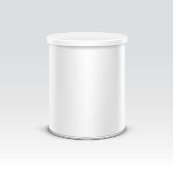 Witte blikken doos verpakking voor thee koffie