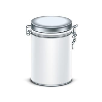 Witte blikken doos verpakking voor thee of koffie