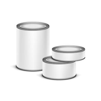 Witte blikken doos voor thee, koffie of conserven in blik