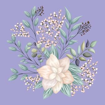 Witte bloem met bladeren schilderij ontwerp, natuurlijke bloemen natuur plant ornament tuindecoratie
