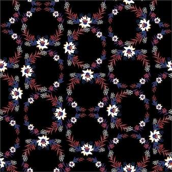 Witte bloemen met bladeren op zwart patroon als achtergrond