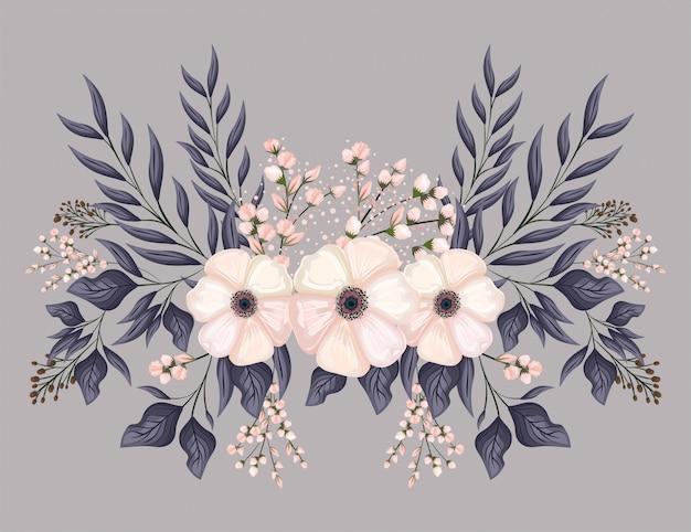 Witte bloemen met bladeren schilderij ontwerp, natuurlijke bloemen natuur plant ornament tuindecoratie