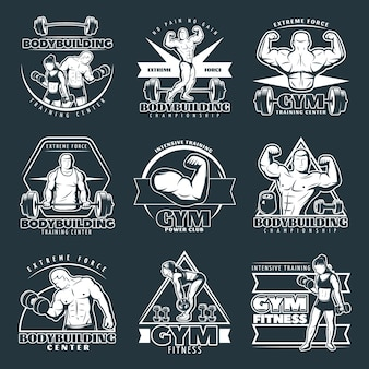 Witte bodybuilding logo set
