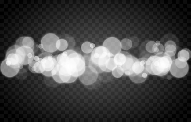 Witte bokeh op geïsoleerde transparante achtergrond lichteffect png wazig bokeh png