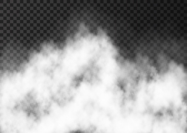 Witte brand rook of mist geïsoleerd op transparante achtergrond stoom speciaal effect