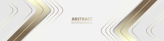 Witte brede luxe abstracte achtergrond met gouden lijnen en schaduwen