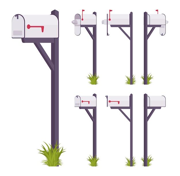 Witte brievenbus set. stalen kist bij een woning, straathoek voor post, om een brief te plaatsen en te krijgen, met indicator. landschapsarchitectuur en stedenbouwkundig concept. stijl cartoon illustratie