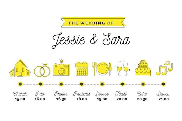 Witte bruiloft tijdlijn in lineaire stijl