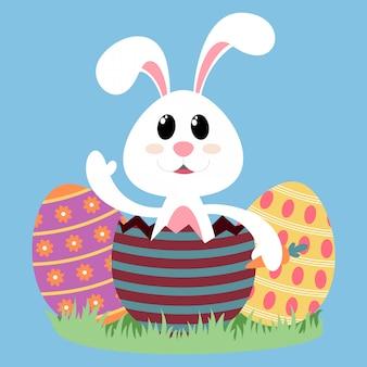 Witte bunny met kleurrijke eieren. gelukkig pasen. illustratie
