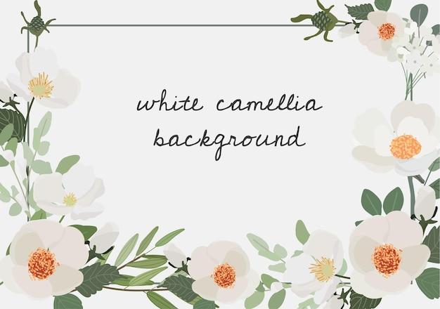 Witte camellia bloemboeket krans frame
