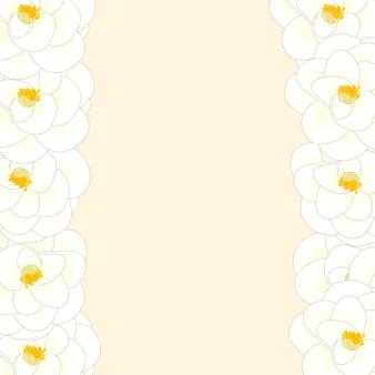 Witte camellia bloemenrand Premium Vector