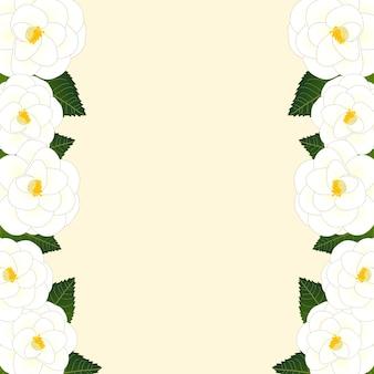 Witte camellia bloemkaderrand