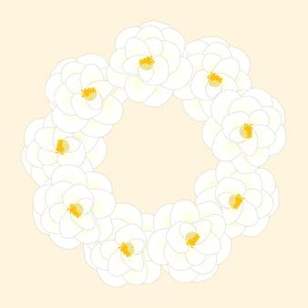 Witte camellia-bloemkroon