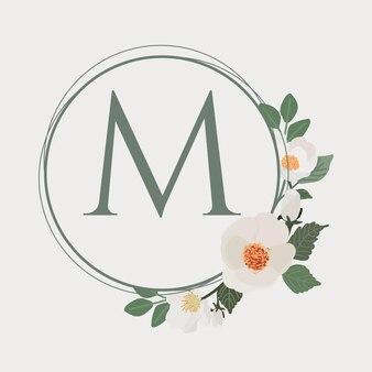 Witte camellia frame logo briefsjabloon