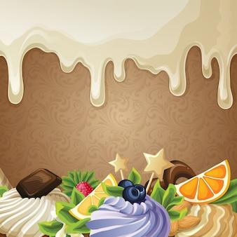 Witte chocolade snoepjes achtergrond