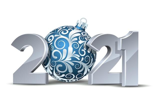 Witte cijfers ontwerp van wenskaart met blauwe kerstbal