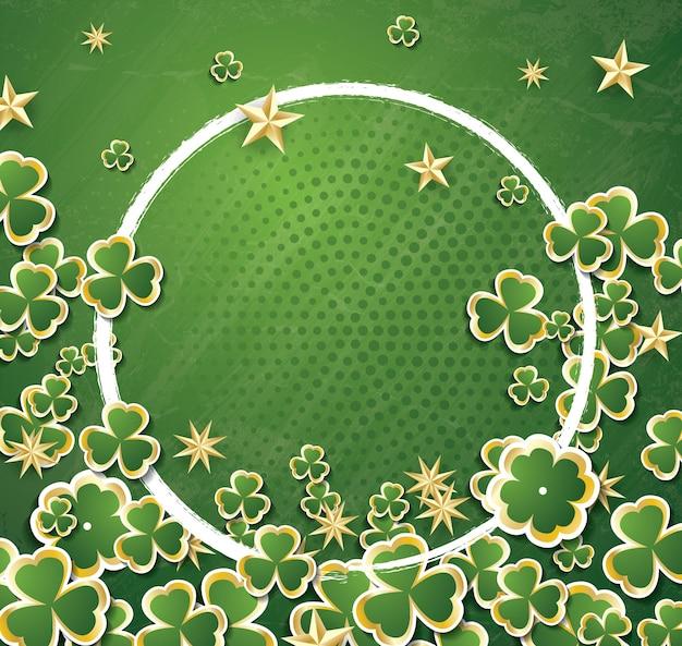 Witte cirkelframe met klaverblaadjes voor st. patrick's day. vectorillustratie.