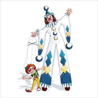 Witte clown pierrot met rode clownmarionet.