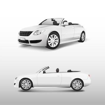 Witte converteerbare auto geïsoleerd op witte vector