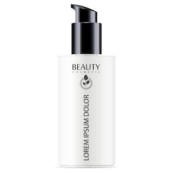 Witte cosmetische fles met zwarte pompdispenser
