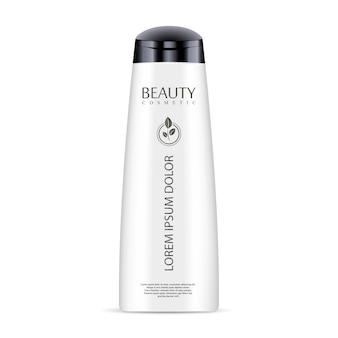 Witte cosmetische fles voor shampoo, douchegel.