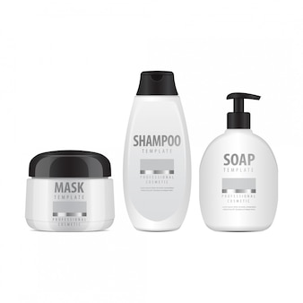 Witte cosmetische flessen set. realistische buis of container voor crème, zalf, lotion. cosmetische flacon voor shampoo. illustratie
